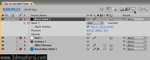 آموزش Adjust settings Add motion blur - After Effects