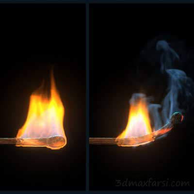 دانلود آموزش Simulating a Burning Matchstick Effect in Maya