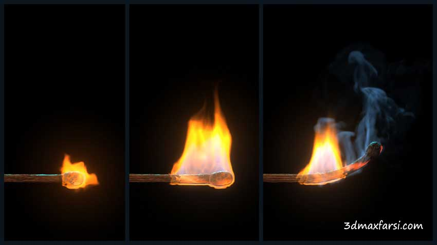 آموزش Simulating a Burning Matchstick Effect in Maya