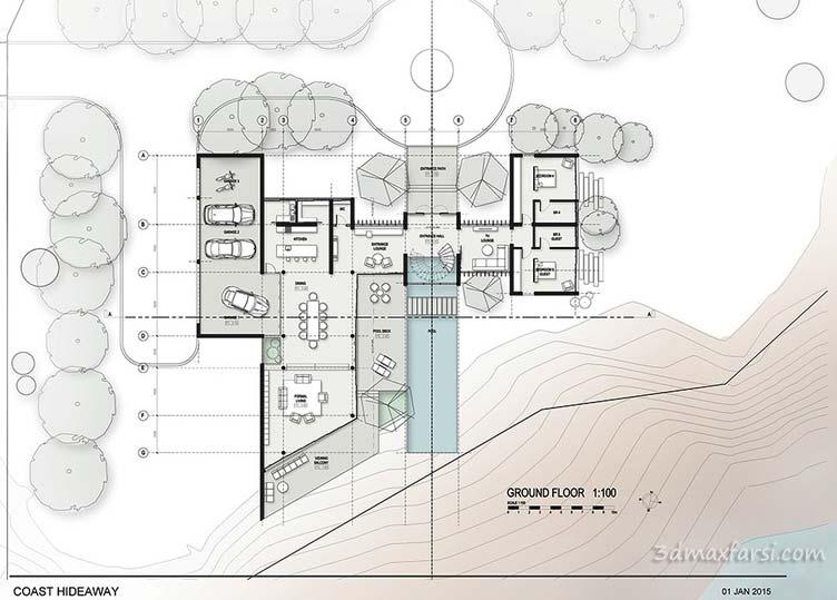 آموزش تصویری طراحی پلان معماری اتوکد فتوشاپ