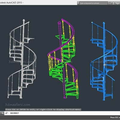 آموزش فارسی اتوکد Modeling a Staircase with AutoCAD