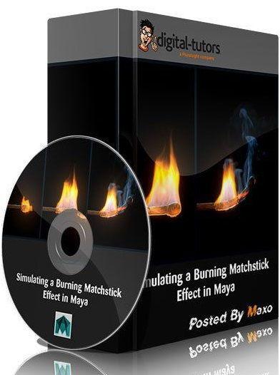Simulating a Burning Matchstick Effect in Maya شعله ورشدن چوب