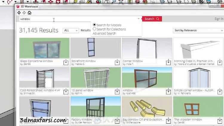 3D Warehouse رندر داخلی اسکچاپ