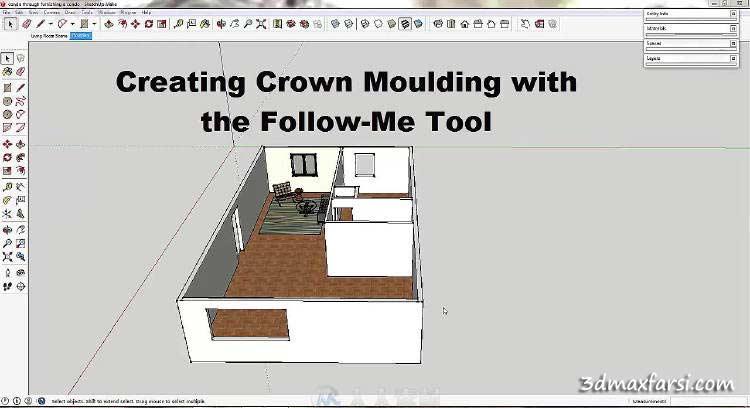 آموزش کار با ابزار فالومی FollowMe Tool رندر داخلی اسکچاپ