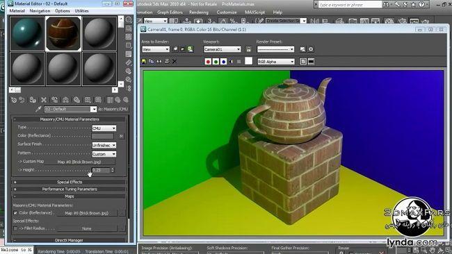 آموزش ساخت متریال آجر دیوار Textures and Materials in 3ds max mental ray