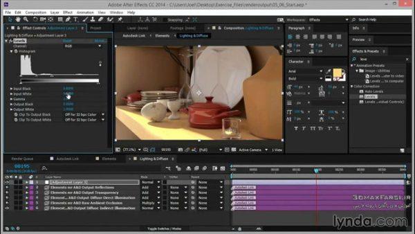 دانلود رایگان کامپوزیت رندر Rendering for Composites inside 3ds Max Lynda
