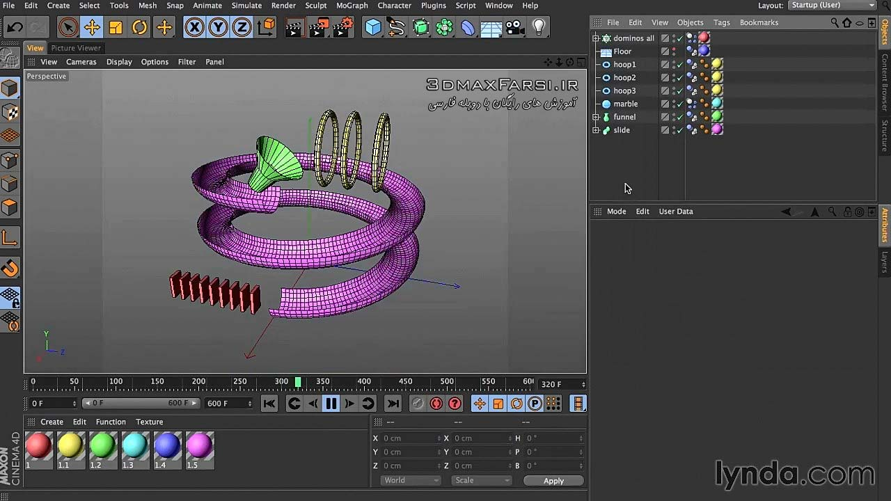 آموزش شبیه سازی سیستم دینامیکی سینمافوردی CINEMA 4D dynamics