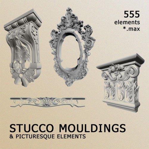 دانلود رایگان آبجکت مدل سه بعدی تزئینات گچبری سقف Stucco Mouldings Picturesque Elements