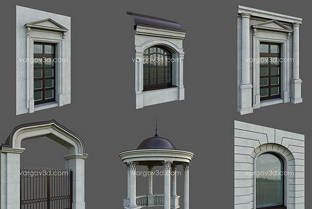 دانلود رایگان آبجکت های معماری نما رومی کلاسیک Vargov3d - Architectural Element