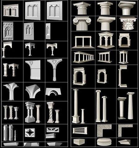 دانلود رایگان مدل سه بعدی نما رومی: گچبری کلاسیک Art Recon