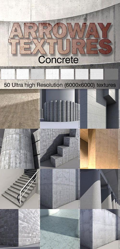 دانلود رایگان مجموعه متریال معماری تری دی مکس ویری Arroway Textures - Concrete One
