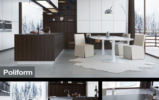 دانلود رایگان صحنه آماده آشپزخانه سبک تری دی اسکای کرونا و وی ری 3ds max Vray