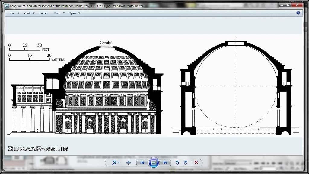 آموزش مدلسازی معماری حرفه ای : معبد پانتئون روم تری دی مکس 3DS Max Architectural Modeling