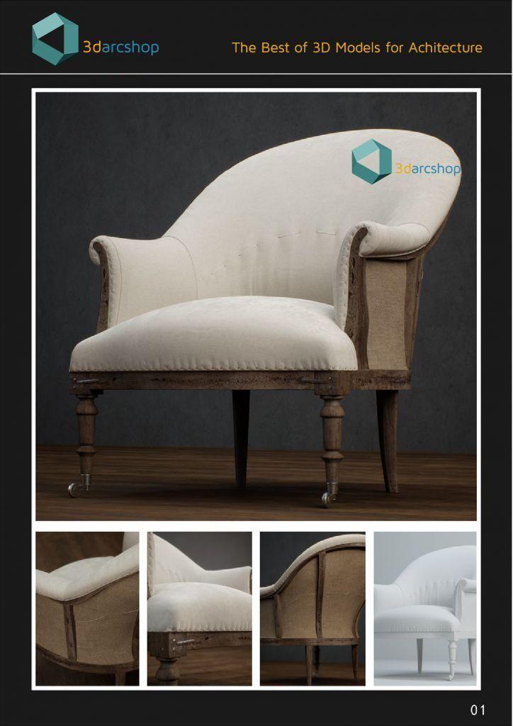 مدل سه بعدی صندلی راحتی 3Darcshop - Boutique Sofa Chair Series Vol 01