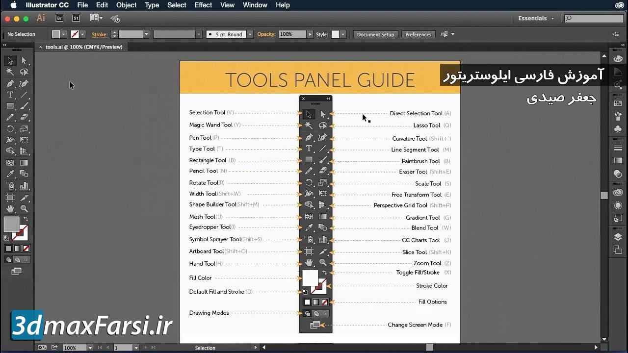 آموزش فارسی ایلوستریتور : کار با پنل ابزار اصلی Illustrators cc Tools panel