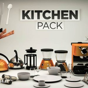 آبجکت سینمافوردی پکیج مدل سه بعدی آشپزخانه Pixel Lab kitchen Pack CGP