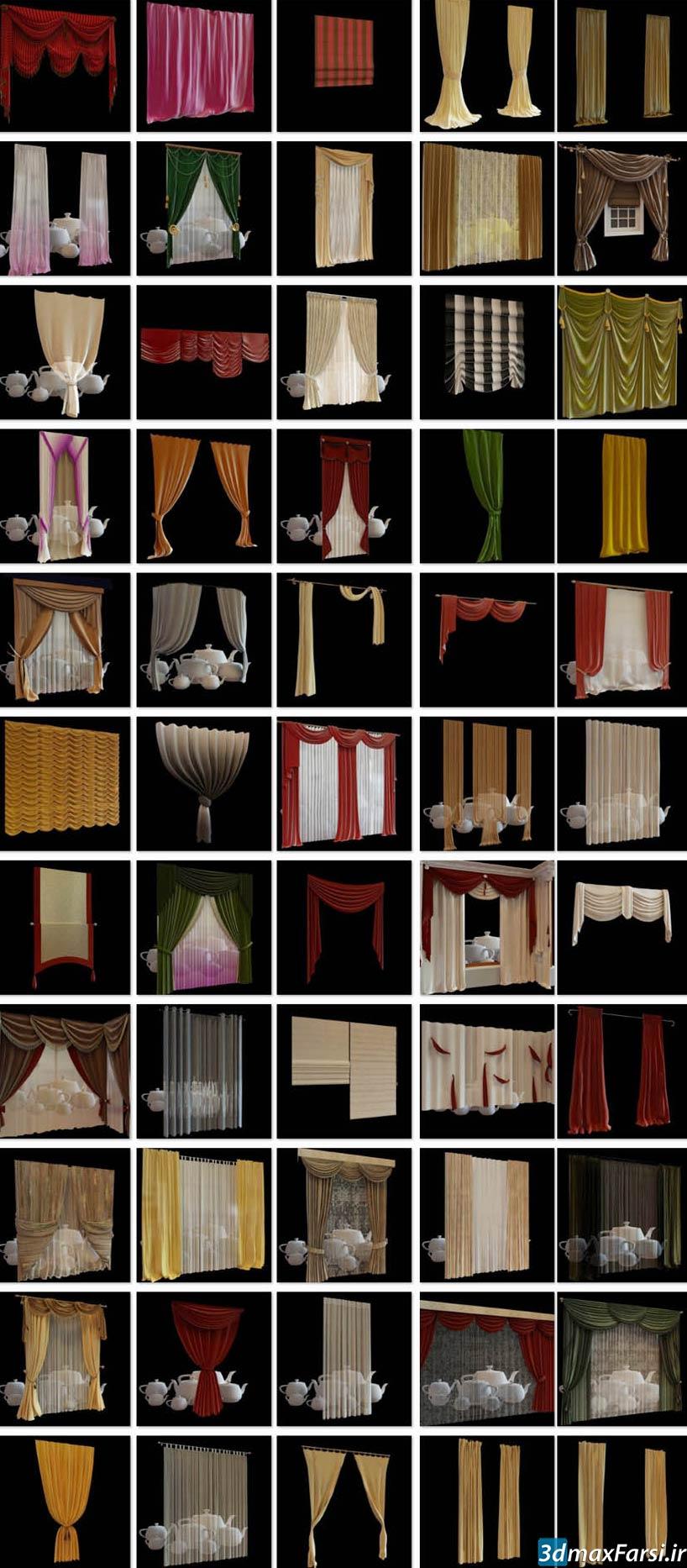 دانلود آبجکت پرده تری دی مکس ویری Avshare Curtains Pillows 3D Models