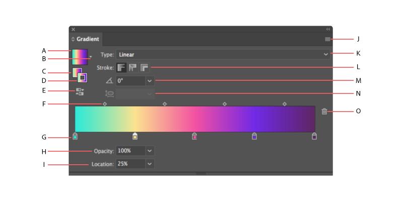 پنل گرادینت ایلوستریتور Adobe Illustrator cc gradient