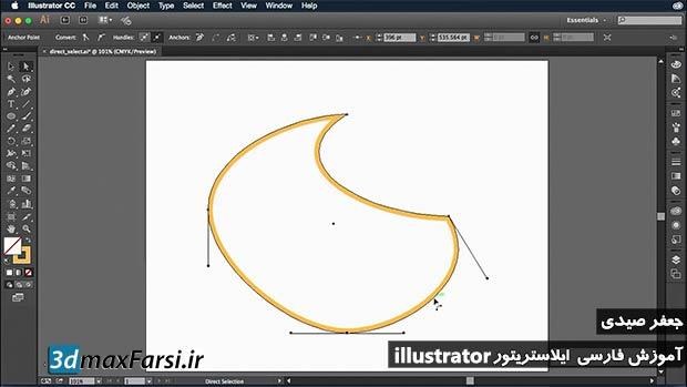 آموزش کار با ابزار انتخاب مستقیم ایلوستریتور Illustrator Direct Selection فیلم به زبان فارسی