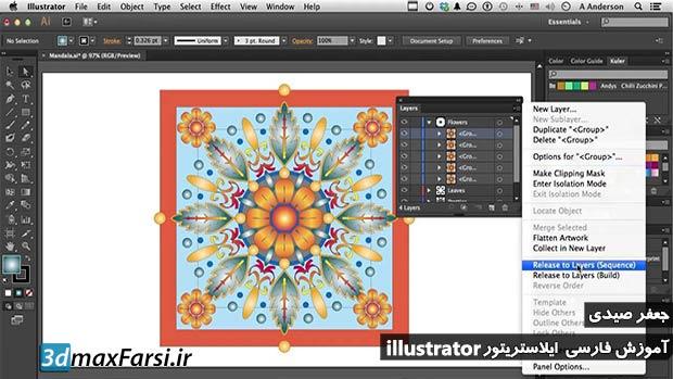 آموزش کار با پنل لایه ایلوستریتور به زبان فارسی : Adobe illustrator sublayers panel