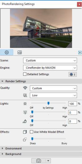 archicad 20 CineRender Basic Settings پنل رندرینگ آرشیکد
