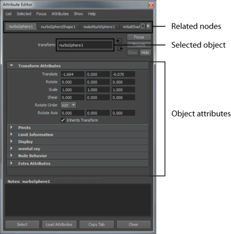 آموزش مایا Maya Attribute Editor