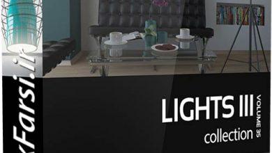 آبجکت چراغ دیواری و هالوژن تری دی مکس CGAxis Models Lights III 3ds max