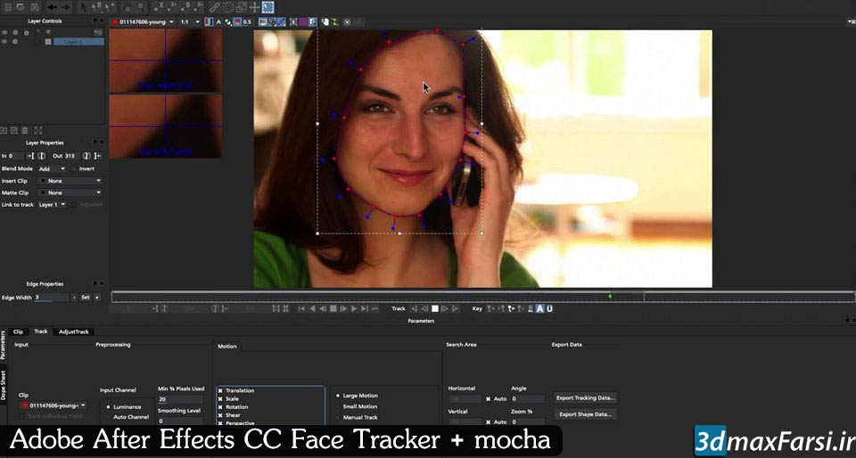 آموزش ترکینگ صورت افتر افکت موکا پرو After Effects Face Tracker + mocha