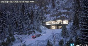 آموزش ساخت جنگل برفی تری دی مکس + پلاگین فارست پک Forest Pack pro