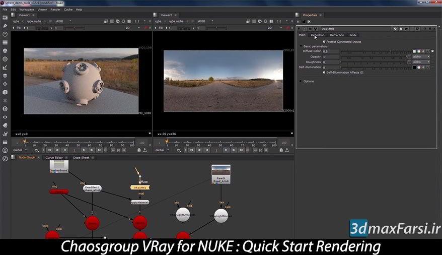 فیلم آموزشی رندر پلاگین ویری برای نوک VRay for NUKE Rendering