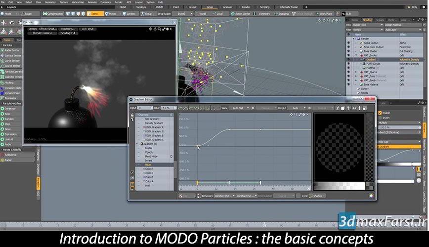 صفر تا صد آموزش سیستم ذرات پارتیکل مودوMODO particle systems