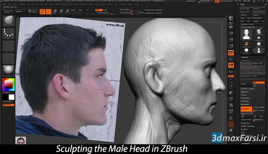 آموزش حجاری سر و صورت انسان نرم افزار زیبراشSculpting ZBrush