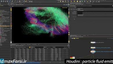 آموزش شبیه سازی ذرات هودینی Houdini particle fluid emitter