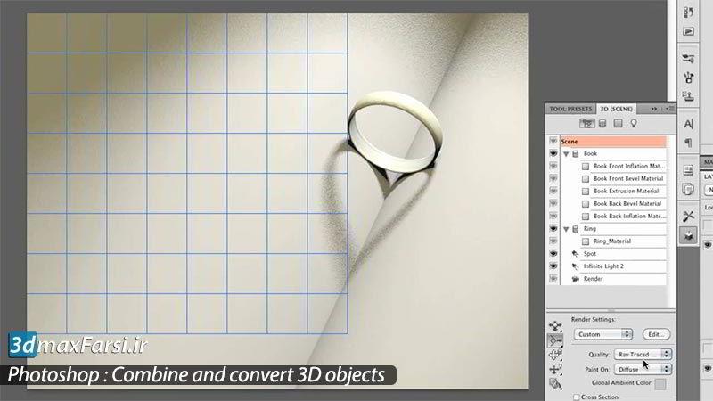 آموزش ساخت تصاویر سه بعدی در فتوشاپ Photoshop Combine 3D Objects