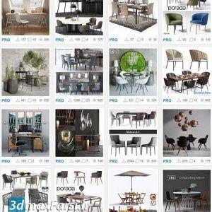 دانلود مدل سه بعدی میز، صندلی کلاسیک تری دی مکس ویری 3DSky Pro Table and Chair