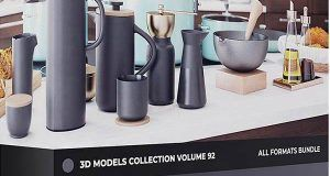 دانلود پکیج آشپزخانه سه بعدی Kitchen Utensils 3D Models Collection – Volume 92