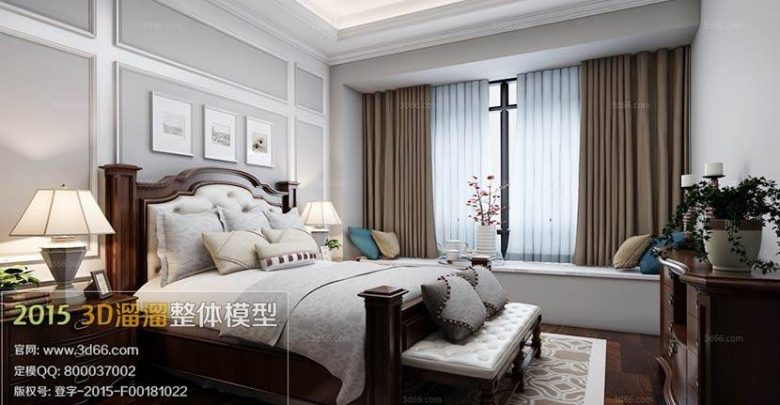 دانلود رایگان صحنه داخلی American Bedroom Style 3D66 Interior 2015 vol.1-2