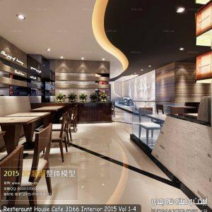 دانلود صحنه آماده رستوران مکس | Resteraunt House Cafe 3D66 Interior 2015
