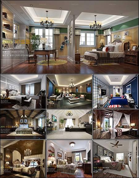 صحنه و آبجکت اتاق خواب American Bedroom Style 3D66 Interior 2015