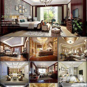 دانلود صحنه آماده اتاق خواب اروپایی European Bedroom Style 3D66 Interior