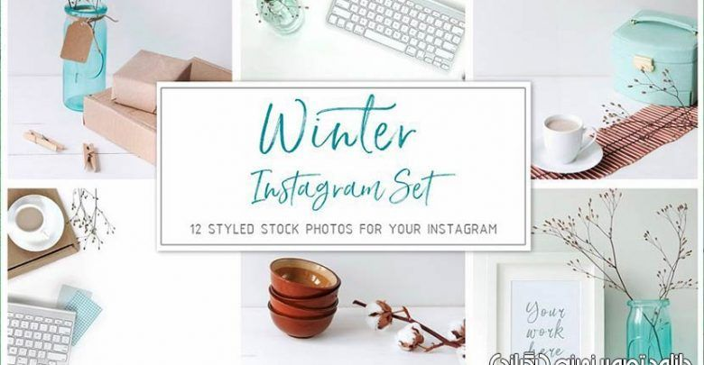 دانلود تصویر بگراند تصویر زمینه اینستاگرام با استایل زمستانی creativemarket Winter Instagram Set
