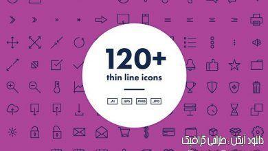 دانلود بهترین مجموعه آیکن خطی وکتور creativemarket 120 Thin Line Icons Png