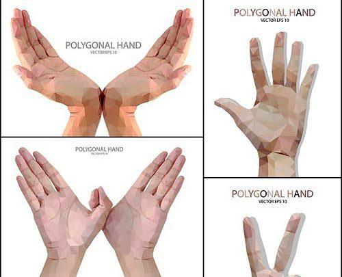 مجموعه طرح وکتور علامت دست و اشاره با انگشت به سبک Low Poly