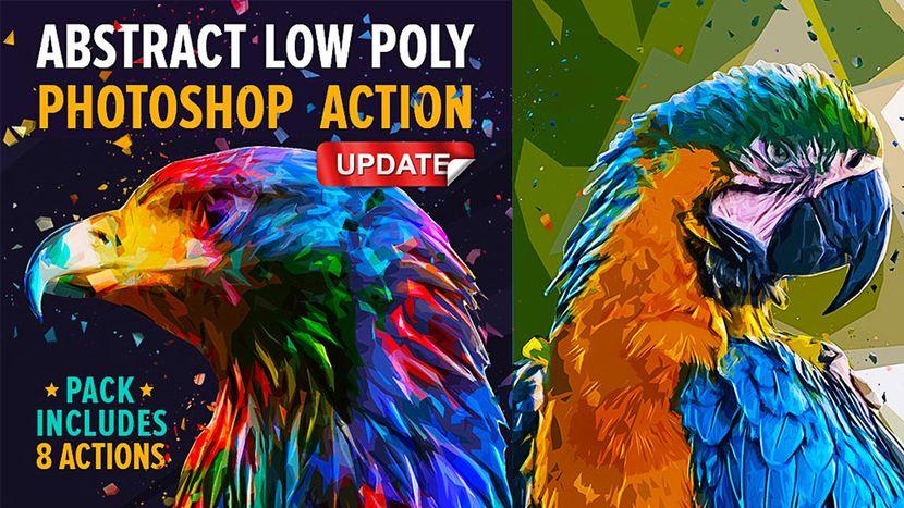 دانلود اکشن فتوشاپ چند ضلعی پراکنده انتزاعی graphicriver Abstract Low Poly Photoshop Action Pack