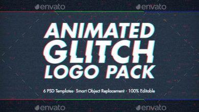 دانلود تمپلیت آماده انیمیت کردن لوگو آیکن Animated Glitch Logo Pack