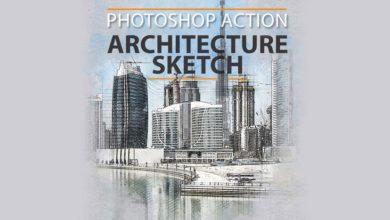 دانلود اکشن فتوشاپ اسکیس معماری رندر راندو architecture sketch photoshop action
