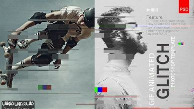دانلود قالب فتوشاپ افکت تصویری قطعی گلیچGif Animated Glitch - Photoshop Templates