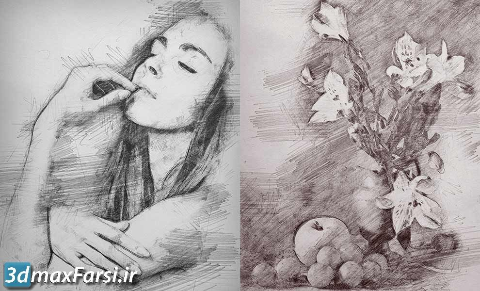 دانلود اکشن فتوشاپ : تبدیل عکس به مداد و زغال | گرافیک ریور graphicriver : Pencil Sketch Photoshop Action