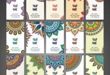 دانلود مجموعه کامل وکتور کارت ویزیت تزئینی با عناصر قدیمی کلاسیک