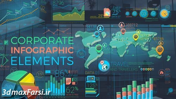 دانلود لوگو آیکن اینفوگرافیک افترافکتColorful Corporate Infographic Elements